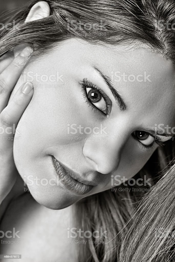 Girl with intense look stock photo