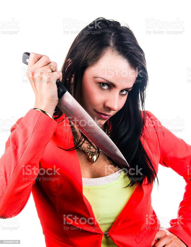 Girl with knife stock photo