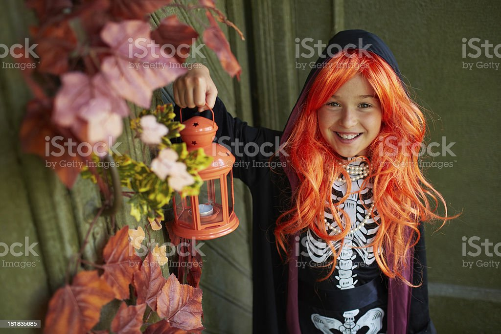 Girl with lantern royalty-free stock photo
