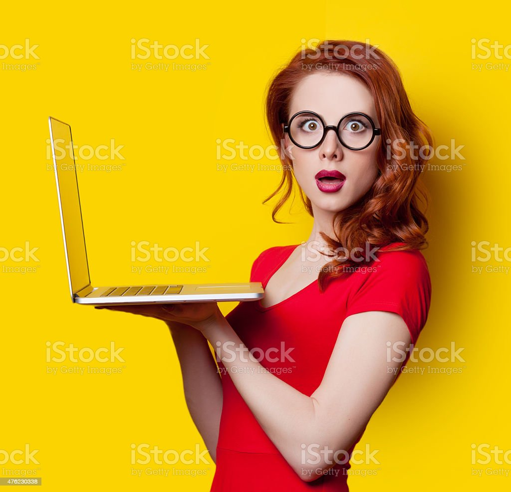 girl with laptop computer stock photo