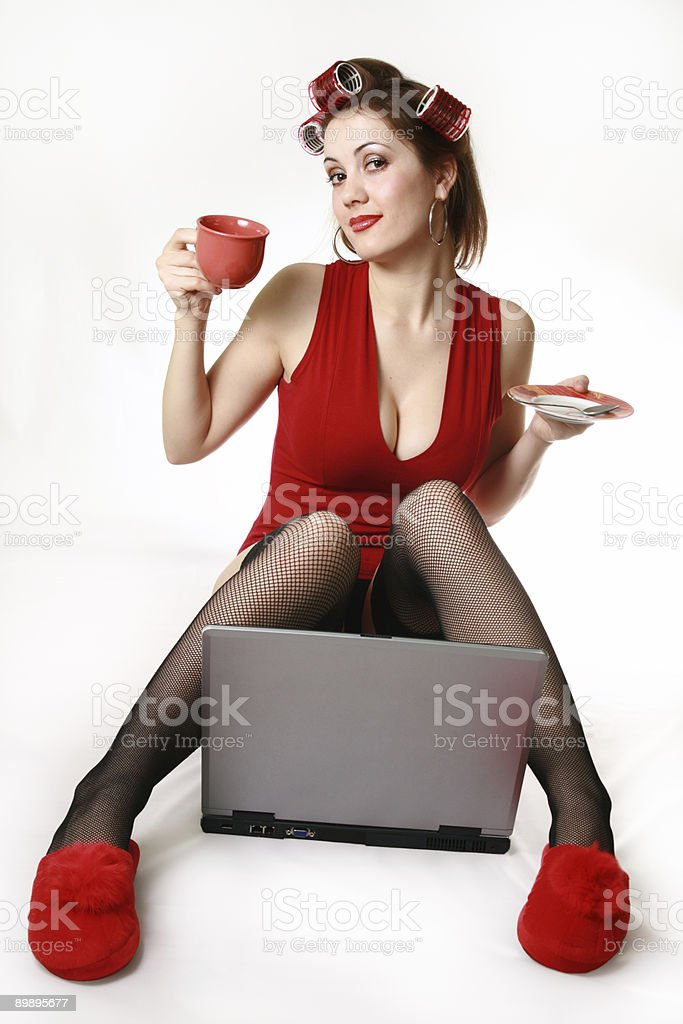 Girl with laptop. Late Night Chat. royalty-free stock photo