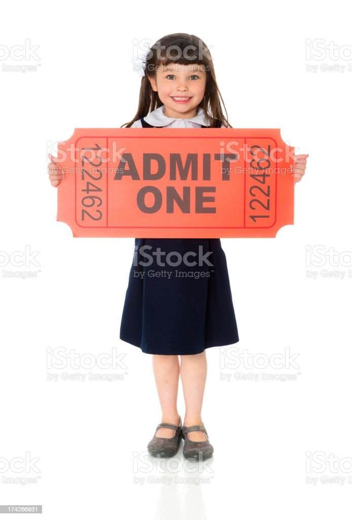 Girl with Large Ticket royalty-free stock photo