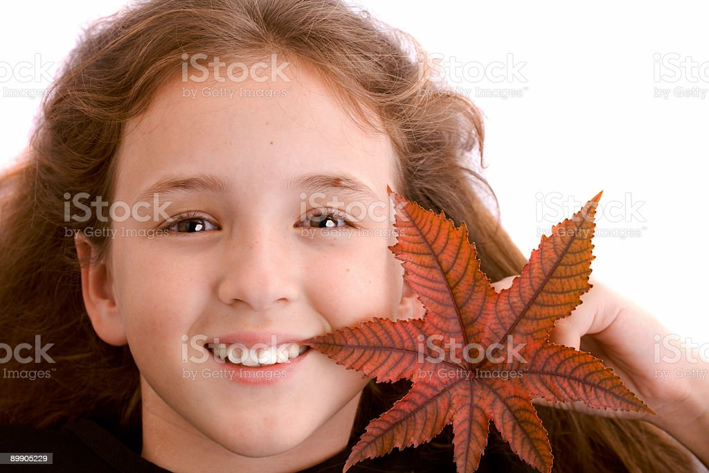 girl with leaf royalty-free stock photo