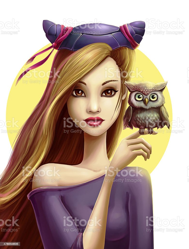 Girl with little cute owl stock photo