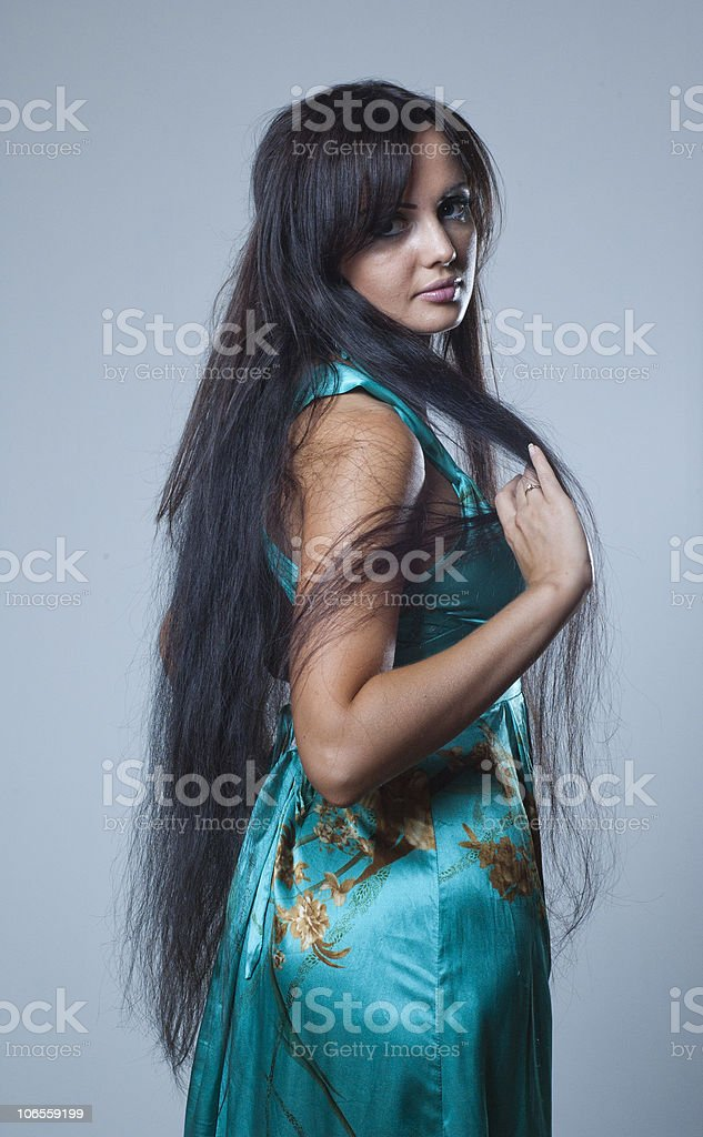 girl with long dark hair stock photo