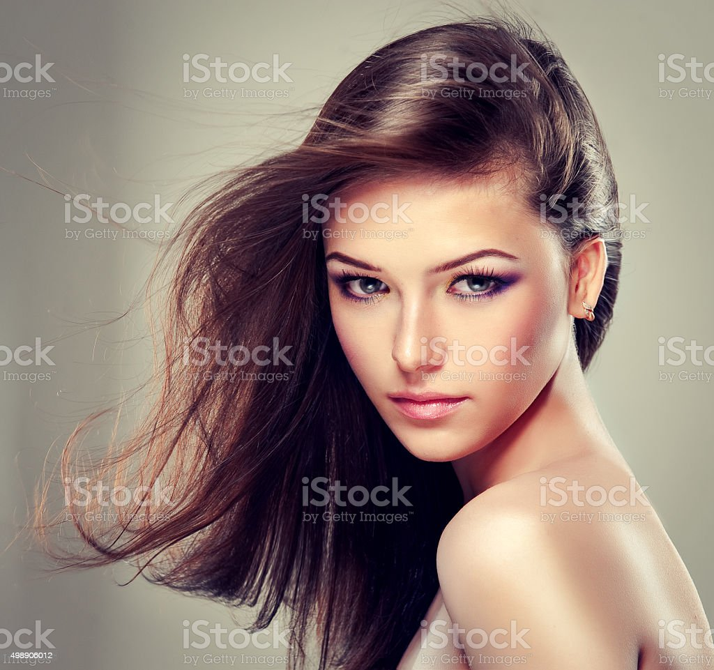 Girl with long straight hair. stock photo