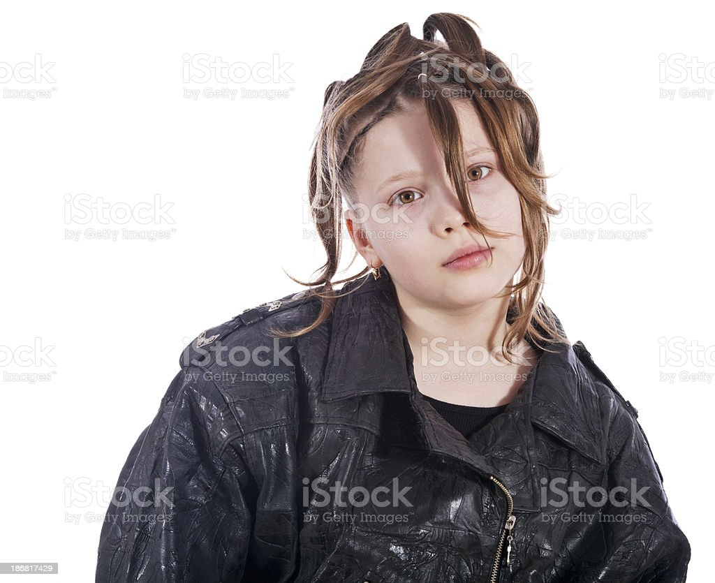Girl with lot of bunches royalty-free stock photo