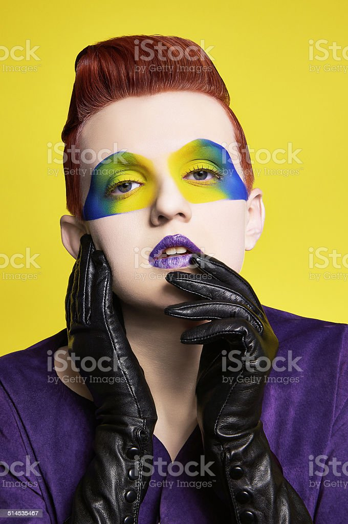 Girl with make-up and gloved hands royalty-free stock photo