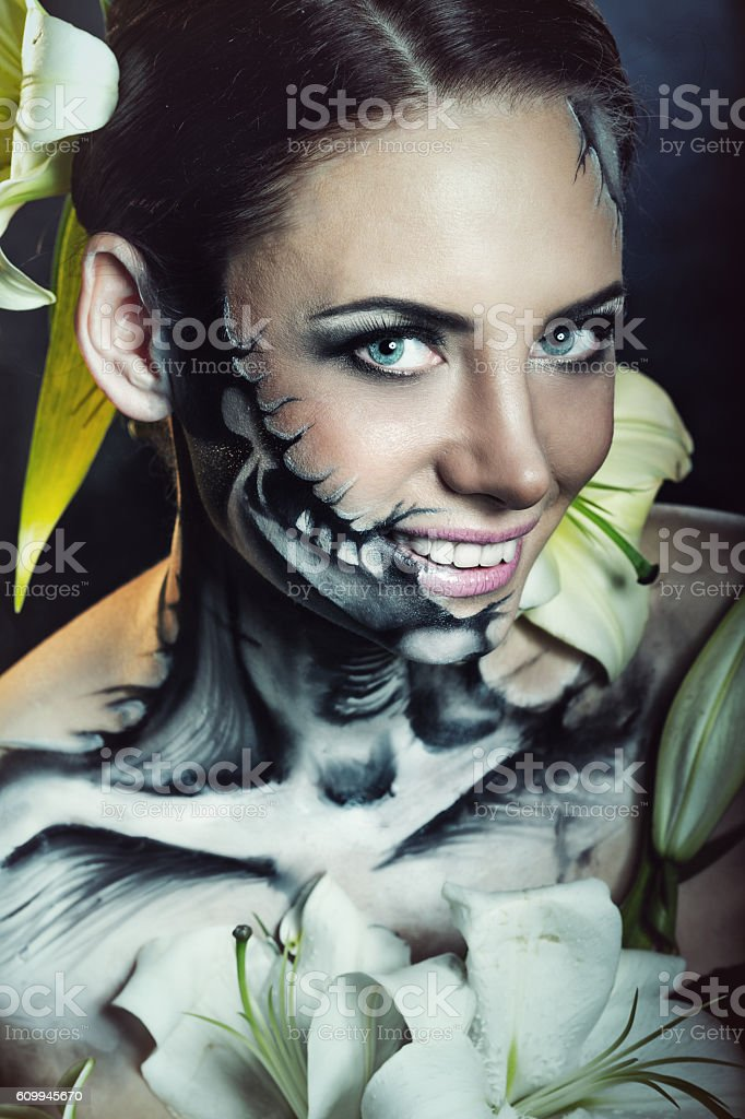 Girl with makeup for Halloween. Scare stock photo