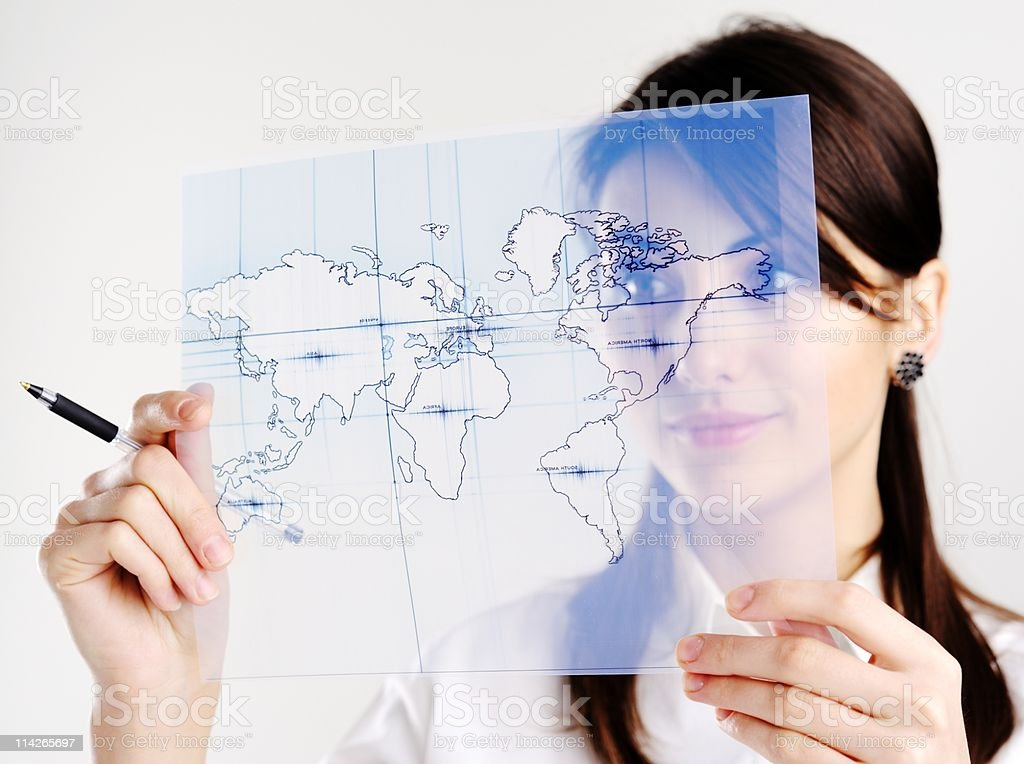 Girl with map of the world stock photo
