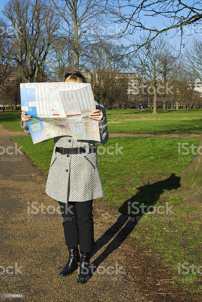 Girl with map royalty-free stock photo