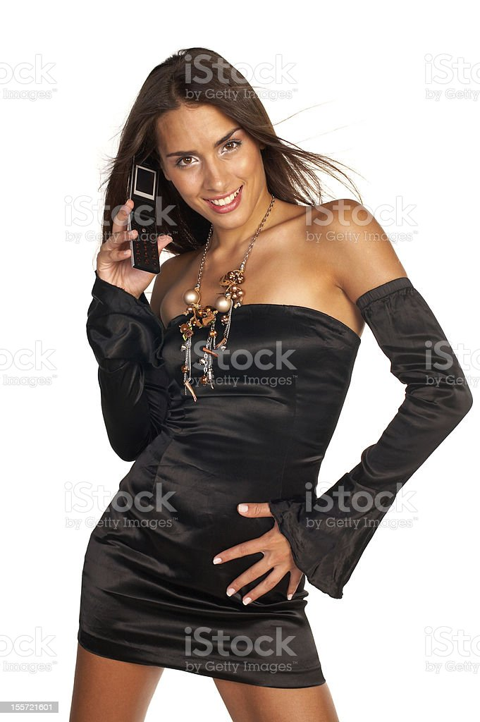 Girl with mobile phone royalty-free stock photo