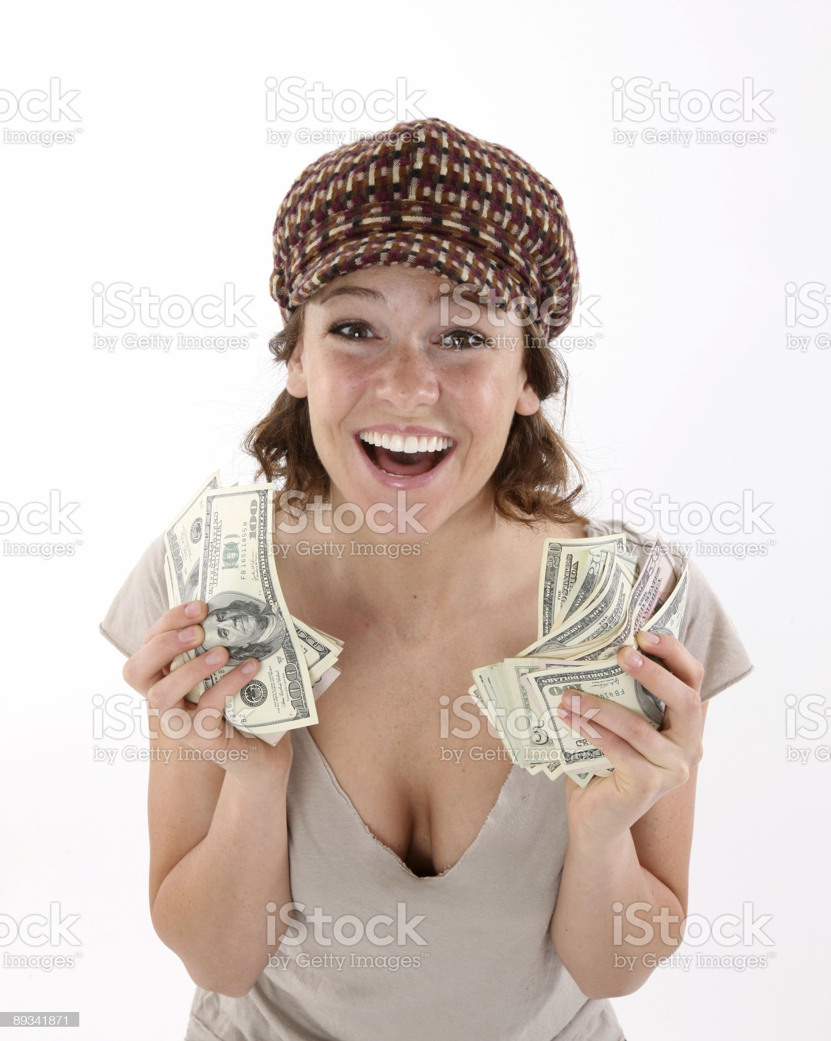 Girl with money royalty-free stock photo