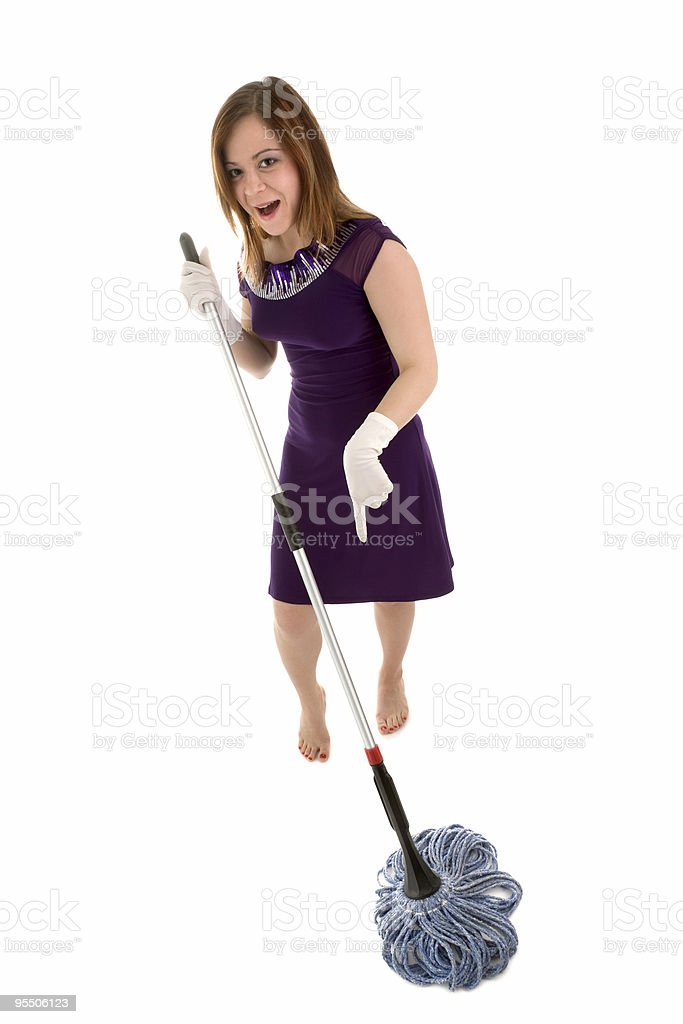 Girl with mop royalty-free stock photo
