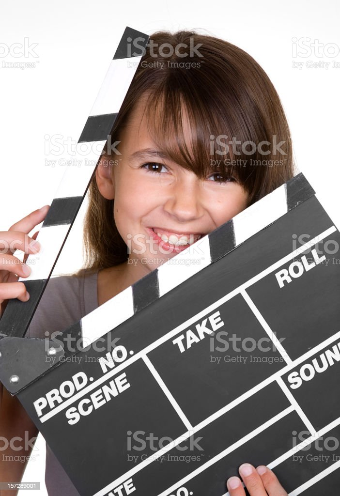Girl with Movie Clapboard royalty-free stock photo