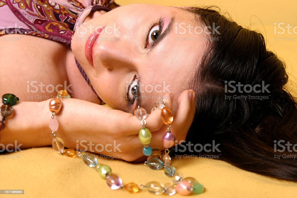 Girl with necklace royalty-free stock photo