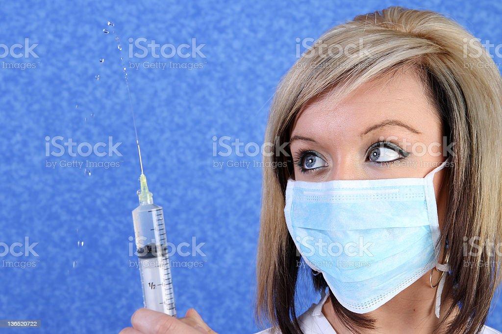 girl with needle... stock photo