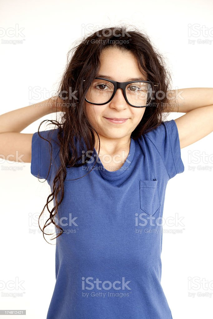 girl with nerd glasses royalty-free stock photo