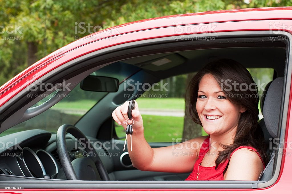 Girl with New Car stock photo