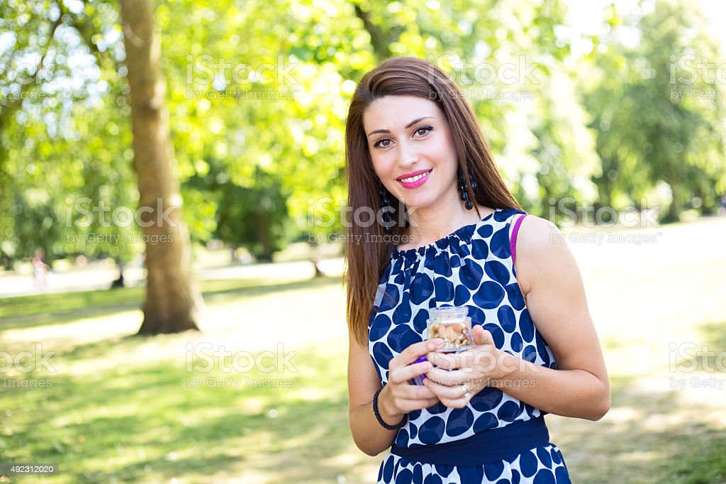 girl with nuts royalty-free stock photo