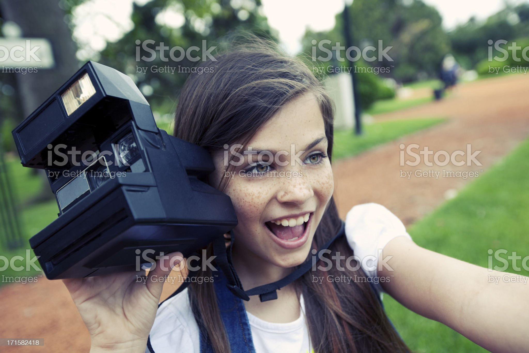 Girl with Old Camera royalty-free stock photo
