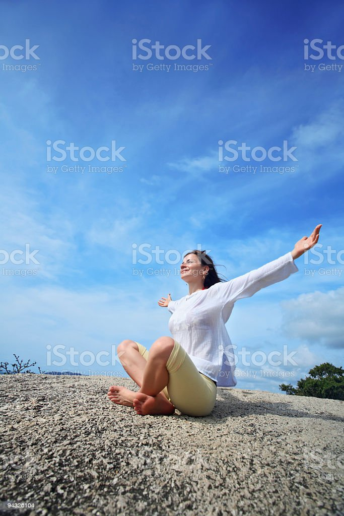 Girl  with open hands. royalty-free stock photo