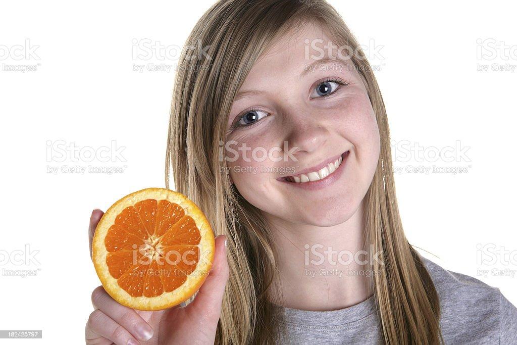 Girl with Orange stock photo