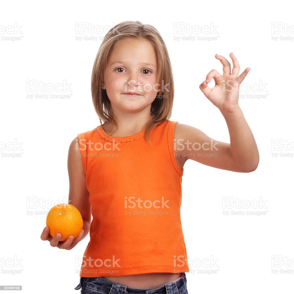 girl with orange royalty-free stock photo