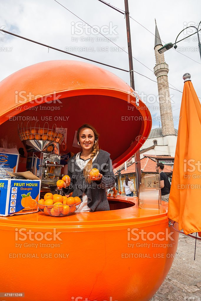 Girl with oranges. royalty-free stock photo
