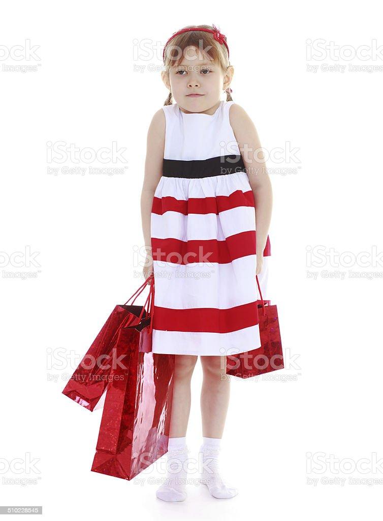 Fille avec sacs en papier photo libre de droits