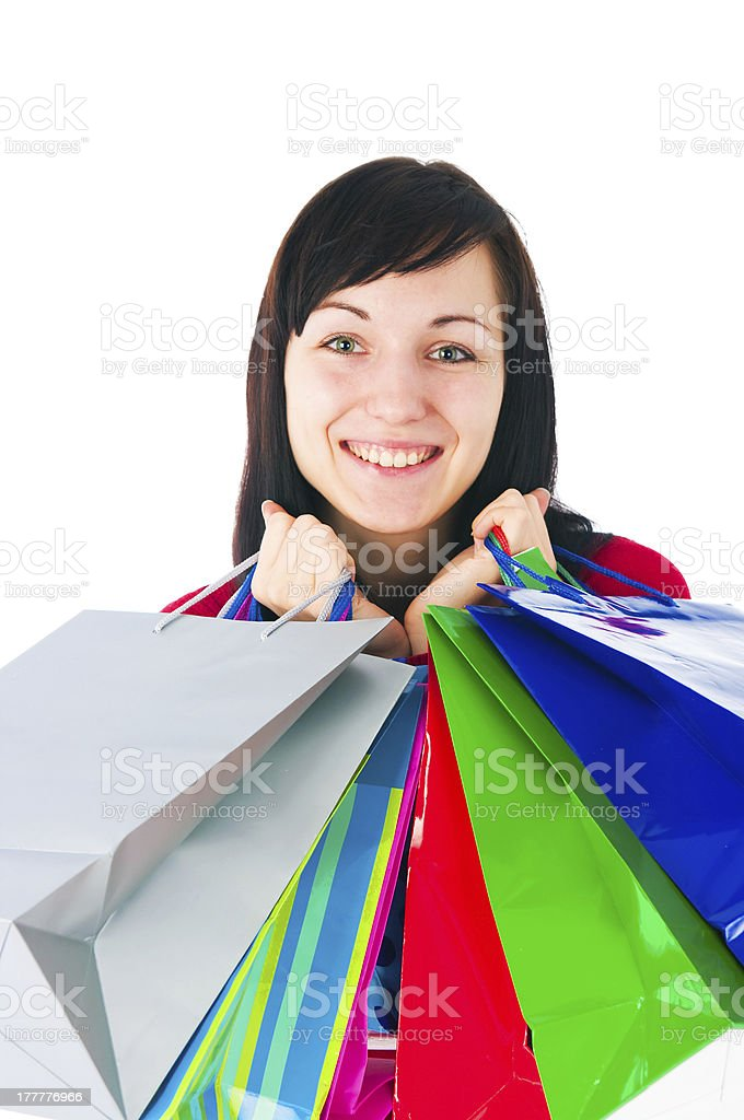 Girl with paper packages royalty-free stock photo