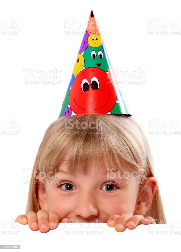 Girl with Party Hat stock photo