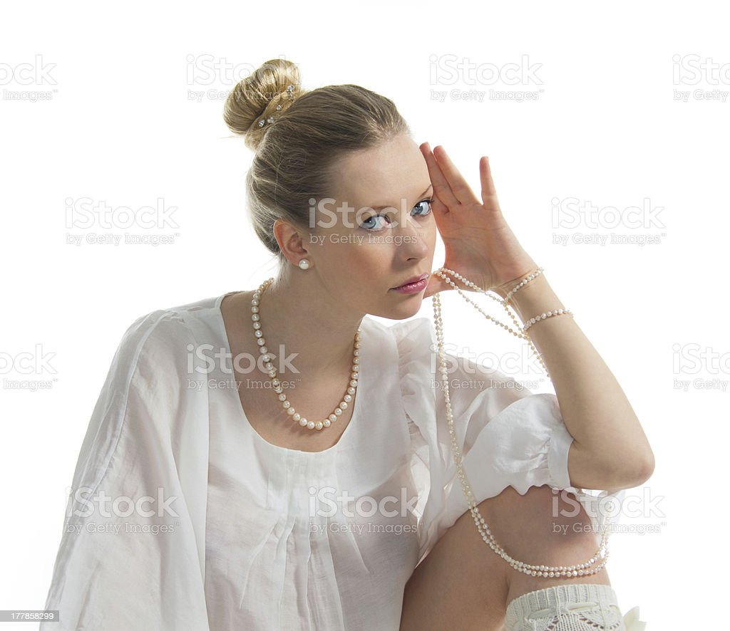 Girl with pearls stock photo