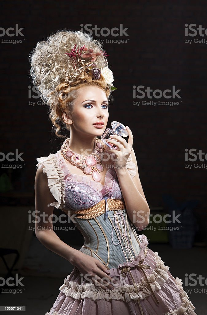 Girl with perfume stock photo