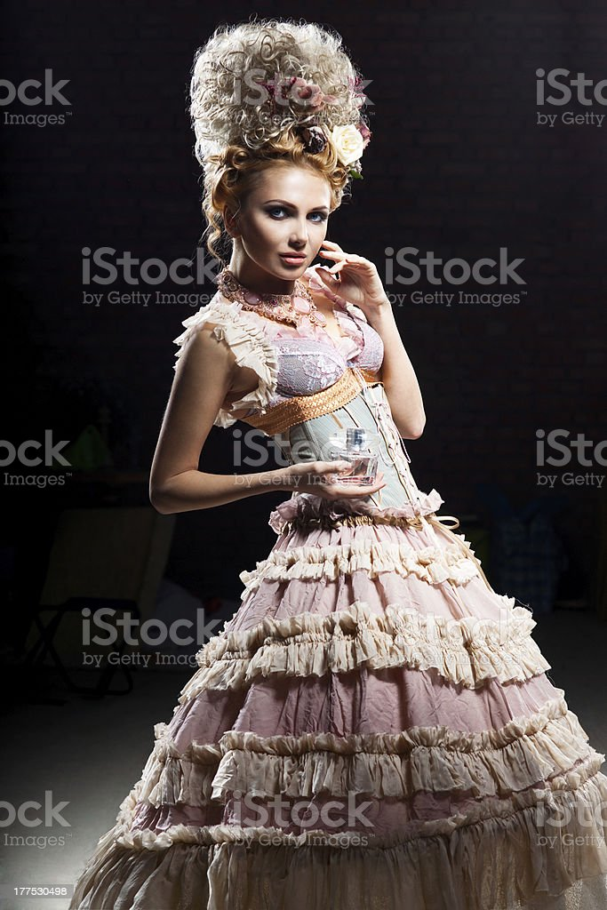 Girl with perfume royalty-free stock photo