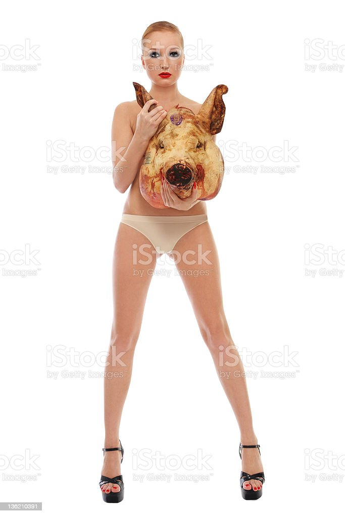 Girl with pig's head royalty-free stock photo