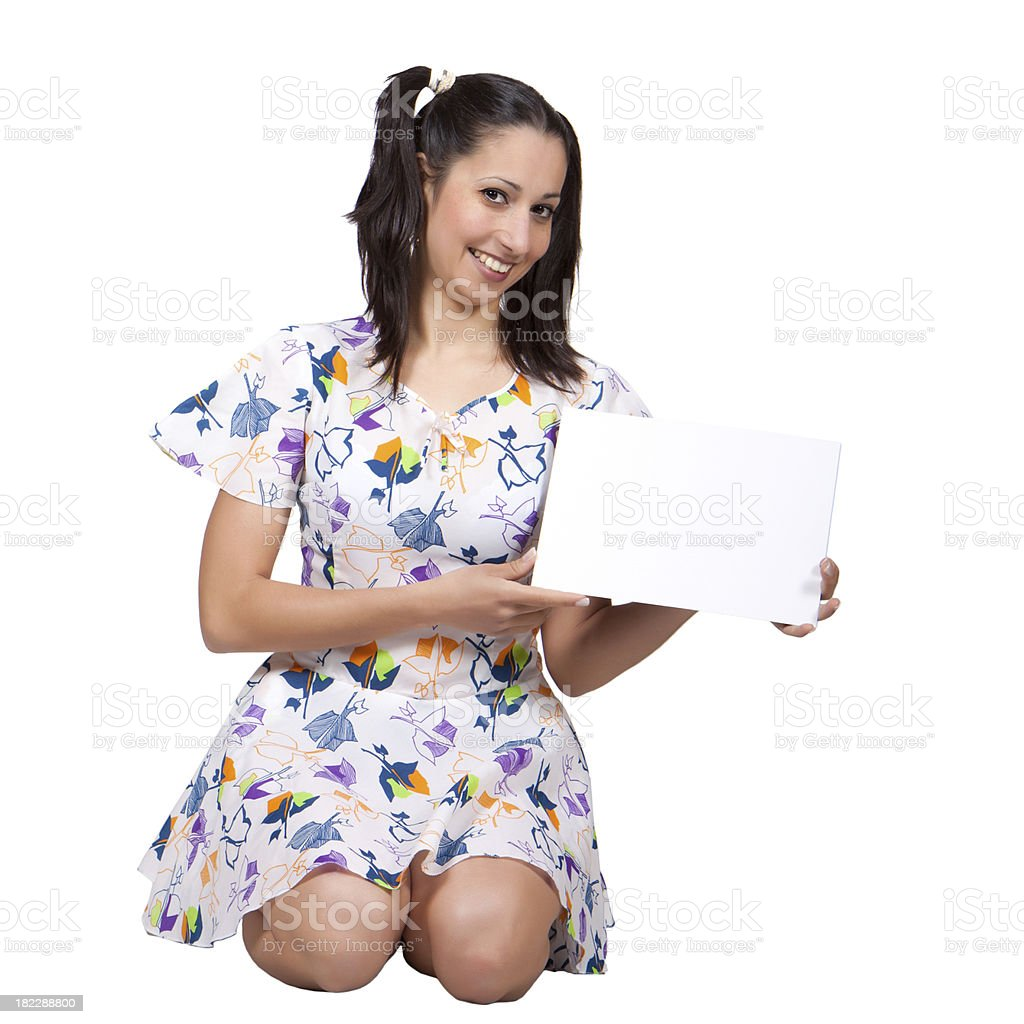 Girl with pigtails in colorful retro dress royalty-free stock photo