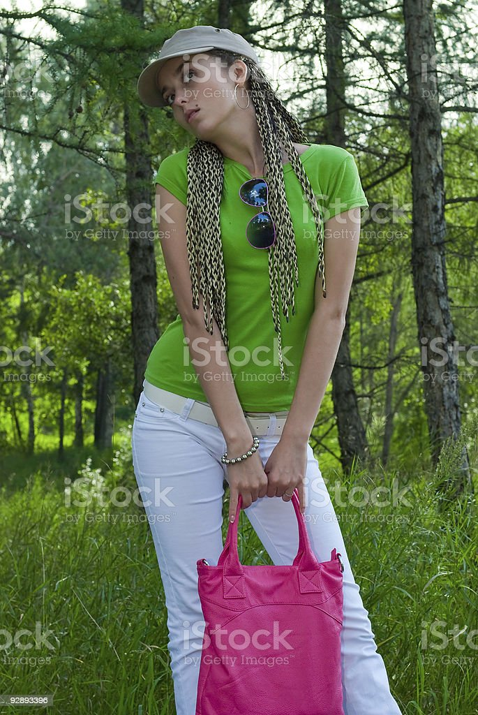 girl with pink bag royalty-free stock photo