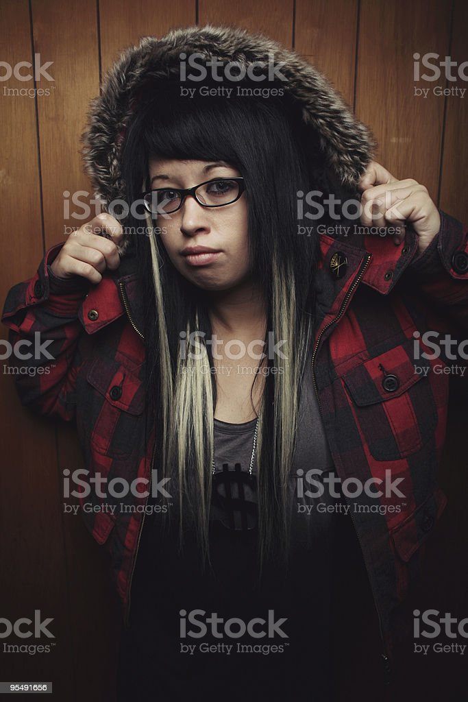 girl with plaid hood royalty-free stock photo