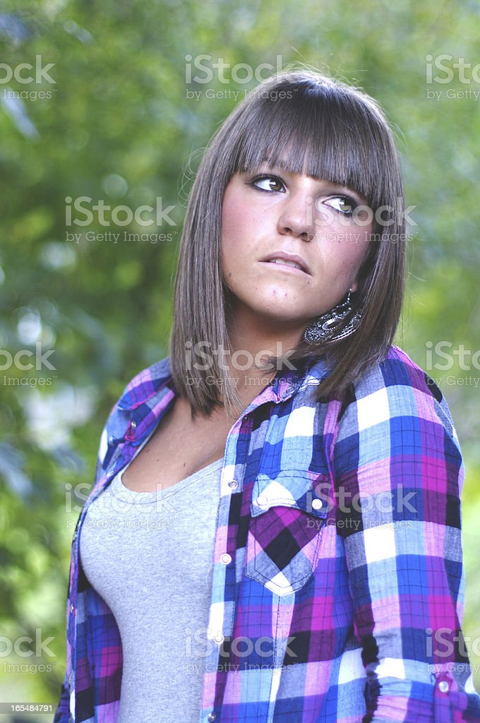 Girl with plaid shirt royalty-free stock photo