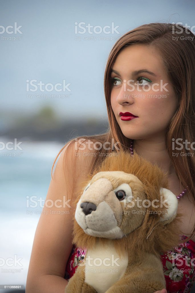 Girl With Plush Toy stock photo