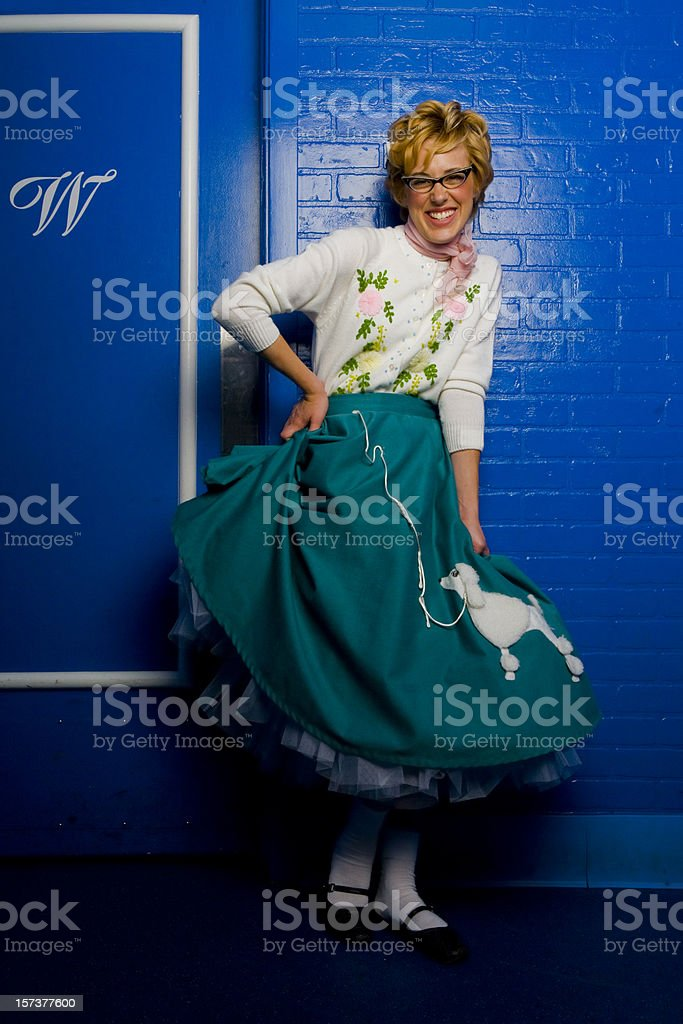 girl with poodle skirt stock photo