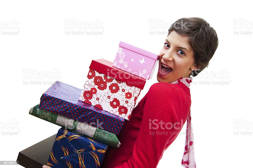 girl with presents royalty-free stock photo