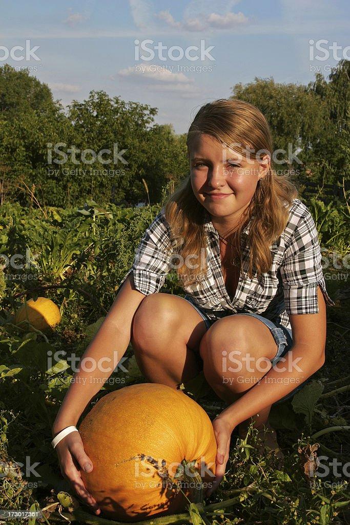 Girl with pumpkin stock photo