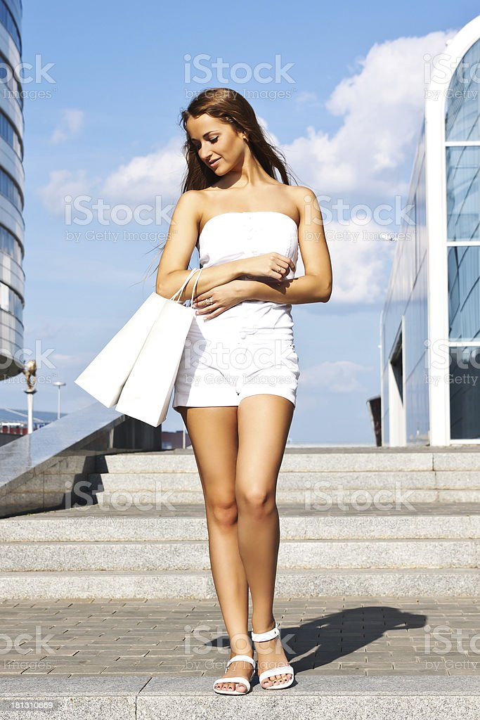 Girl with purchases royalty-free stock photo