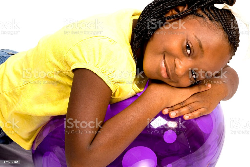 girl with purple ball royalty-free stock photo