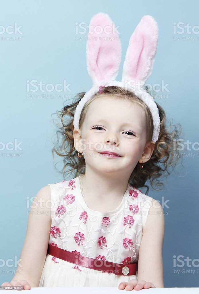 girl with rabbit ears royalty-free stock photo