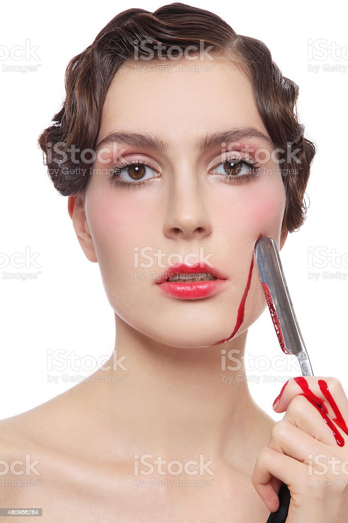 Girl with razor stock photo