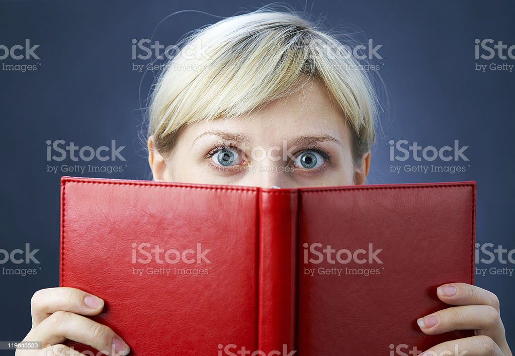 girl with red book royalty-free stock photo
