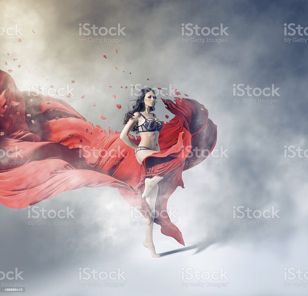 Girl with red cloth stock photo